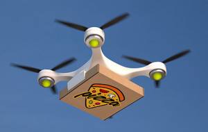 Drone deliving pizza